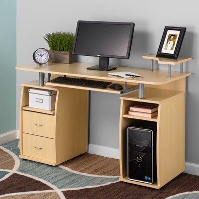 Keyboard Tray and CPU Storage Computer Desk Finish: Yellow Teak