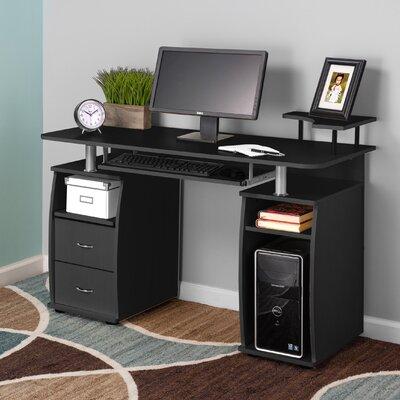 Keyboard Tray and CPU Storage Computer Desk Finish: Black