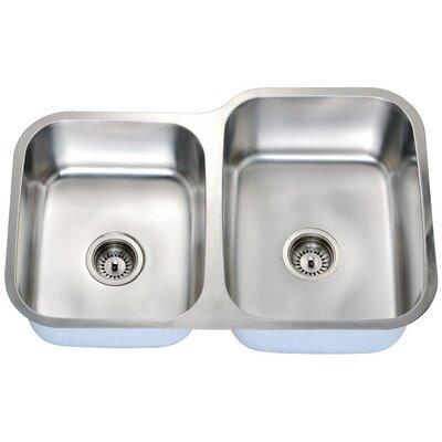 """32"""" L x 18"""" W Double Basin Undermount Kitchen Sink"""