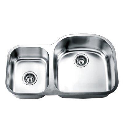 """33"""" L x 21"""" W Double Basin Undermount Kitchen Sink"""