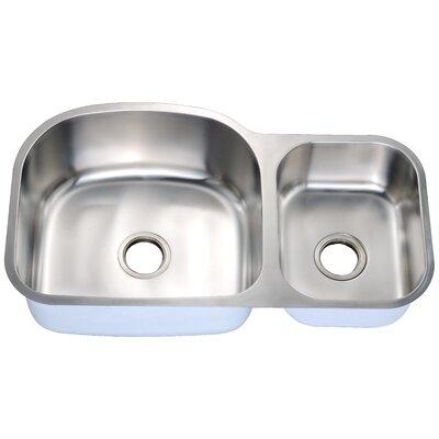 """35"""" L x 20"""" W Double Basin Undermount Kitchen Sink"""