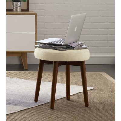 Penelope Round Tufted Accent Stool Color: Antique Ivory