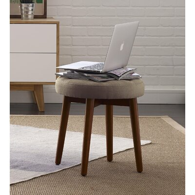 Penelope Round Tufted Accent Stool Color: Warm Taupe