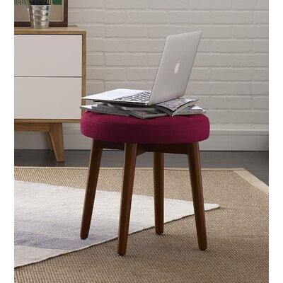 Penelope Round Tufted Accent Stool Color: Red Sangria