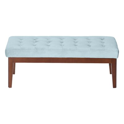 Claire Tufted Upholstered Bench Upholstery: French Seaglass Blue Velvet