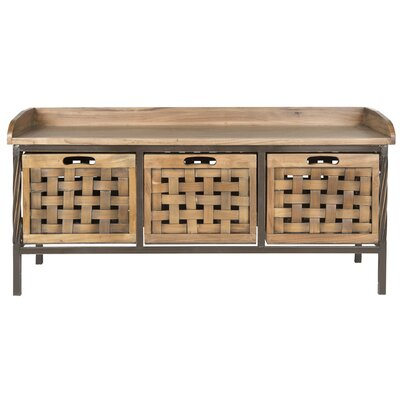 Isaac Wooden Storage Bench Color: Oak
