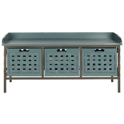 Isaac Wooden Storage Bench Color: Slate Teal