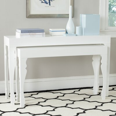 Beth 2 Piece Console Table Set Color: White