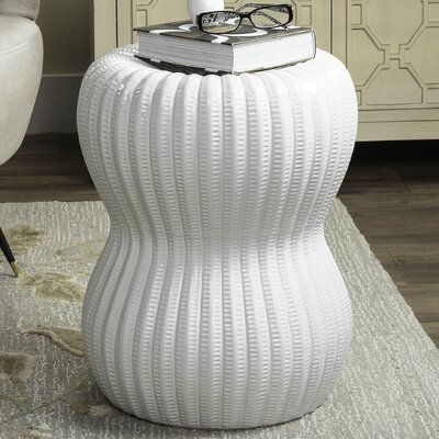 Hour Glass Garden Stool Color: White
