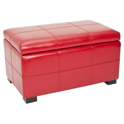 Lucas Leather Storage Bench Color: Red