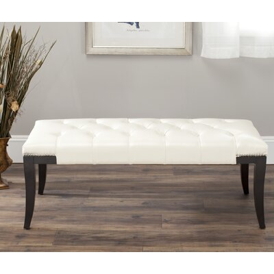 Adele Tufted Two Seat Bench Upholstery: Bicast Leather Cream