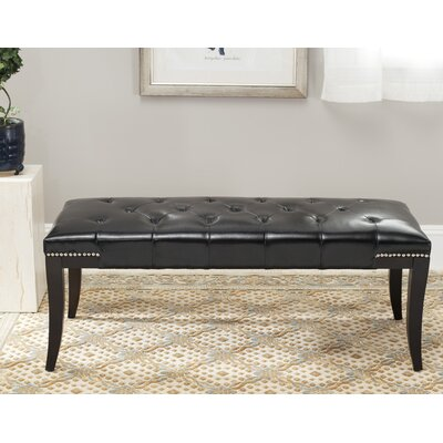 Adele Tufted Two Seat Bench Upholstery: Bicast Leather Black