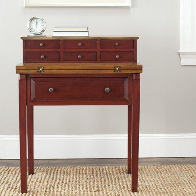 Hindon Secretary Desk Color: Egyptian Red / Oak