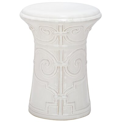 Imperial Scroll Garden Stool Color: White