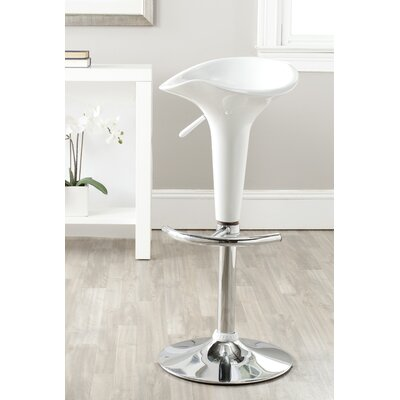 Jataya Adjustable Height Swivel Bar Stool Color: White