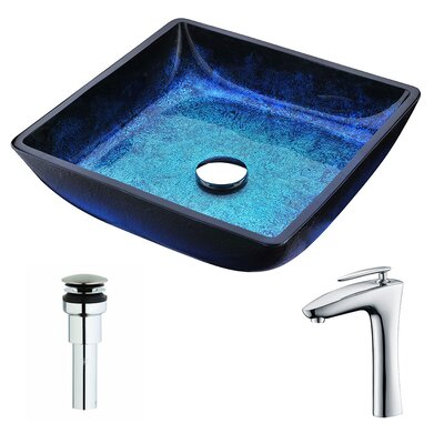 Viace Glass Square Vessel Bathroom Sink with Faucet