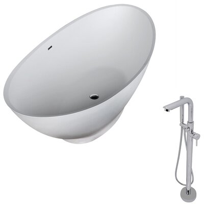 "Ala 74.4"" x 33.5"" Freestanding Soaking Bathtub"