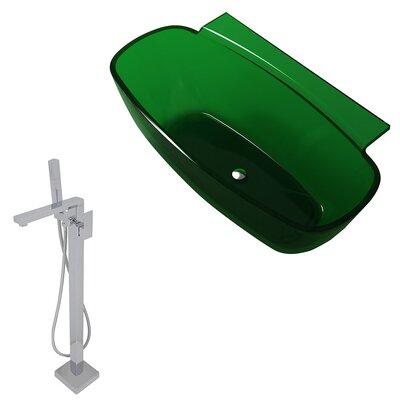 "Vida 62"" x 32"" Freestanding Soaking Bathtub Color: Emerald Green"