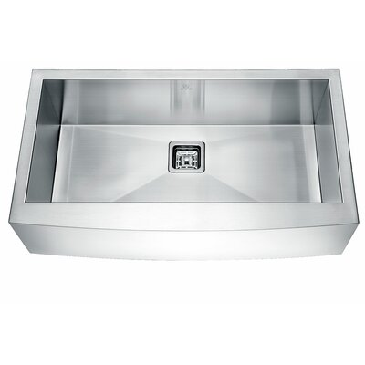 """Elysian Stainless Steel 33"""" L x 21"""" W Farmhouse Kitchen Sink with Drain Assembly"""