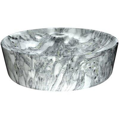 Marbled Series Vitreous China Circular Vessel Bathroom Sink Sink Finish: Snow