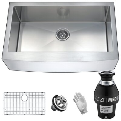 "Elysian Stainless Steel 36"" L x 21"" W Farmhouse Kitchen Sink Garbage Disposal: 1/3 HP"