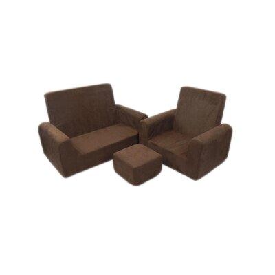 3 Piece Kids Sofa Chair and Ottoman Set Color: Chocolate