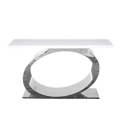 "Linnea Console Table Size: 32"" H x 55"" W x 16"" D, Color: White/Silver"