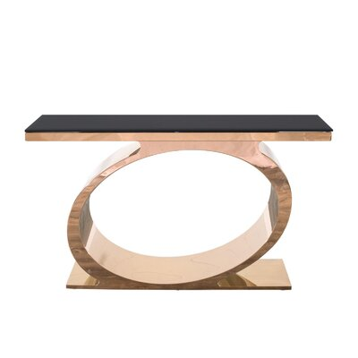 "Linnea Console Table Size: 30"" H x 55"" W x 18"" D, Color: Black/Rose Gold"