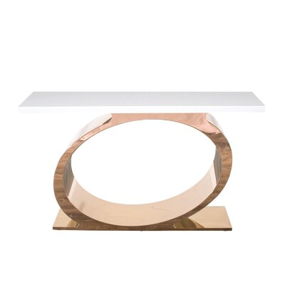 "Linnea Console Table Size: 32"" H x 55"" W x 16"" D, Color: White/Rose Gold"