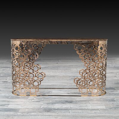Loredana Console Table Color: Rose Gold