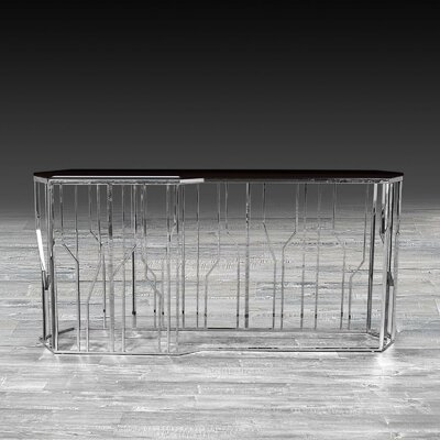 """LucianaGlass Console Size: 31.5"""" H x 55"""" W x 17"""" D, Color: Silver"""