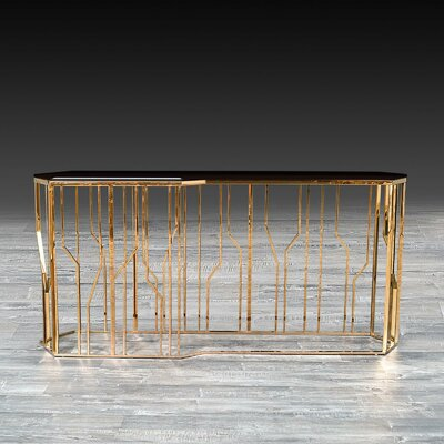 "LucianaGlass Console Size: 31.5"" H x 55"" W x 17"" D, Color: Rose Gold"