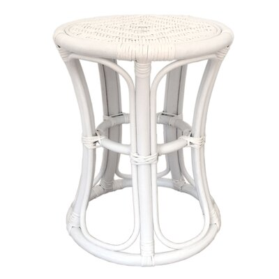 Tom Rattan Wicker Stool Finish: White