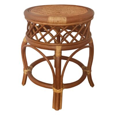 Mary Rattan Wicker Stool Finish: Light Brown
