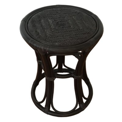 Tom Rattan Wicker Stool Finish: Black