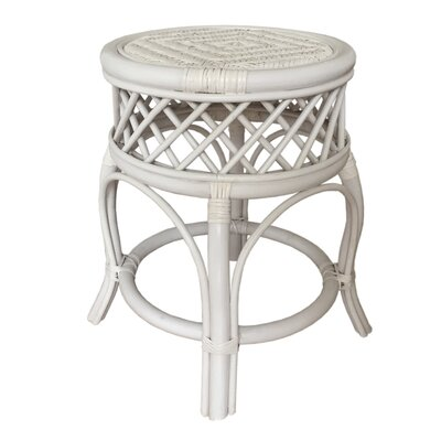 Mary Rattan Wicker Stool Finish: White