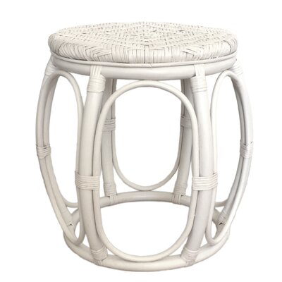 Larry Rattan Wicker Garden Stool Finish: White