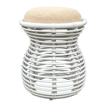 Graves Rattan Wicker Vanity Stool Finish: White