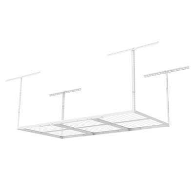 Heavy Duty Overhead Garage Adjustable Ceiling Storage Rack Color: White