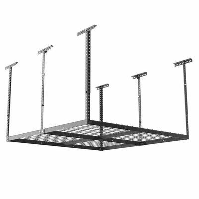 Overhead Garage Storage Adjustable Ceiling Storage Rack Color: Black