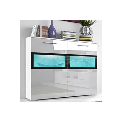 Sarah LED 2 Drawer Side Accent Cabinet Color: Gloss White