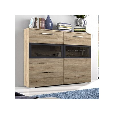 Sarah LED 2 Drawer Side Accent Cabinet Color: San Remo Oak