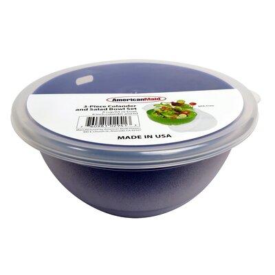 """3 Piece Plastic Colander and Salad Bowl and Set Color: Purple, Size: 6"""" H x 10"""" W x 10"""" D"""