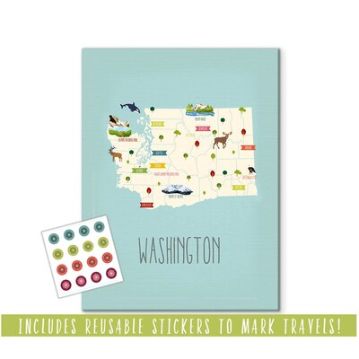 """Hartley Travel Map of Washington Personalized Canvas Art Format: Canvas, Size: 24"""" H x 18"""" W"""