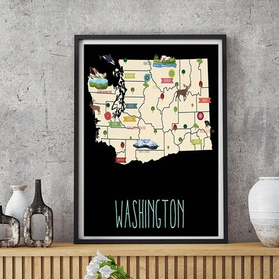 """Linney Travel Map of Washington Personalized Canvas Art Format: Poster, Size: 24"""" H x 18"""" W"""