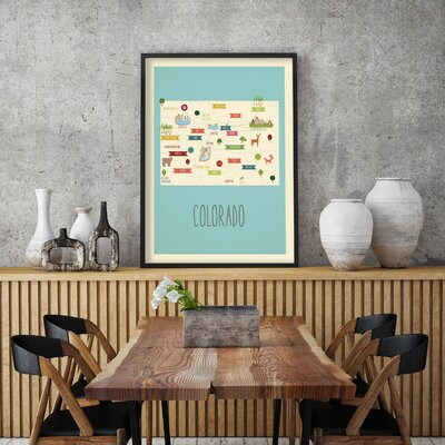 """Hartley Travel Map of Colorado Personalized Canvas Art Format: Canvas, Size: 48"""" H x 36"""" W"""