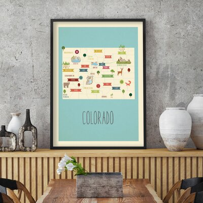 """Hartley Travel Map of Colorado Personalized Canvas Art Format: Canvas, Size: 36"""" H x 24"""" W"""
