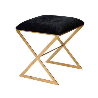 Vanity Stool Frame Color: Gold, Color: Black
