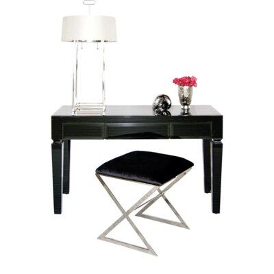 Beveled 3 Drawer Writing Desk Finish: Black Glass