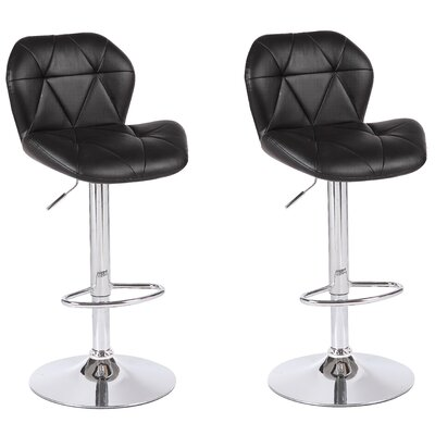 Cierra Adjustable Height Swivel Bar Stool Upholstery: Black